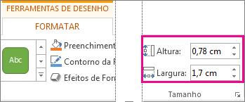 Caixas de Altura e Largura no separador Formatar das Ferramentas de Desenho
