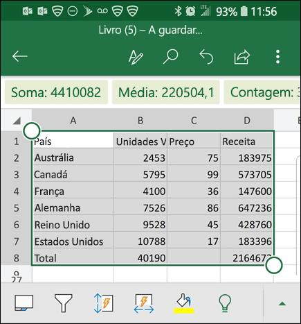 O Excel converteu os seus dados e importa-os para a grelha.