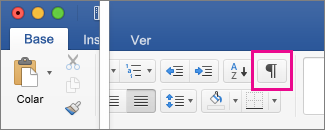 No separador Base, está realçada a opção Mostrar Marcas de Edição