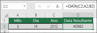Exemplo 1 da função DATA