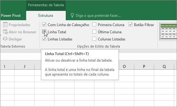 Opção Linha Total no separador Estrutura