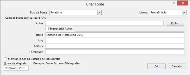 São apresentadas as opções na caixa de diálogo Criar Fonte