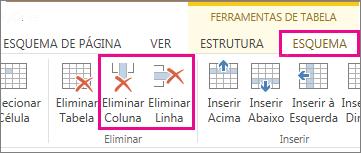 Imagem dos comandos Eliminar Tabela e Eliminar Linha em Ferramentas de Tabela no separador Esquema do friso