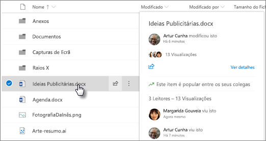 Screenshot do cartão hover de ficheiro que aparece quando aponta para um ficheiro no OneDrive ou No SharePoint