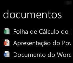 Os documentos do ambiente de trabalho são apresentados no Windows Phone quando o Office Remote é executado
