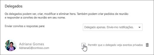 Uma captura de ecrã da caixa de verificação Permitir que o delegado veja eventos privados.