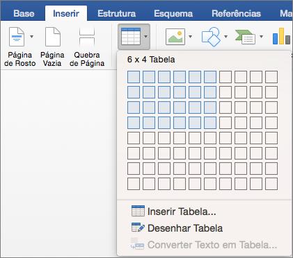 Selecionar o número de linhas e colunas para inserir rapidamente uma tabela
