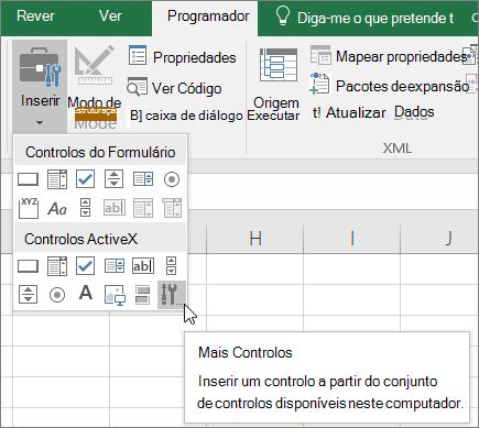 Controlos ActiveX na faixa de vistas