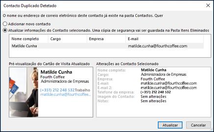 Se tiver um contacto duplicado, o Outlook pergunta se pretende atualizar.