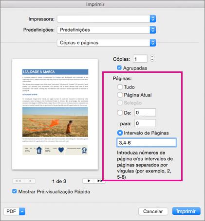 A caixa de diálogo Imprimir com a secção Páginas realçada