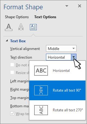 Painel de efeitos de texto com a orientação do texto selecionada