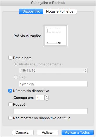 Apresenta a caixa de diálogo Cabeçalho e Rodapé n do PowerPoint 2016 para Mac