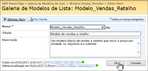 Diálogo de edição de modelo de lista