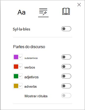 Opções gramaticais em Leitor Imersivo