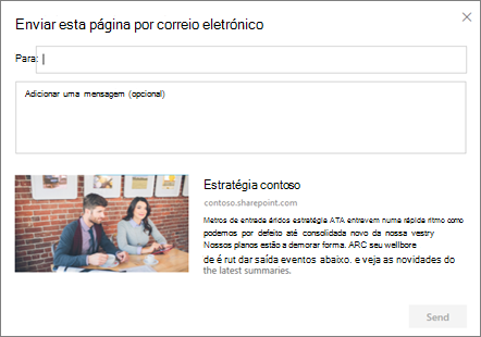 Caixa de diálogo enviar por e-mail