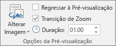 Mostra o grupo de opções de Pré-visualização no separador Formatar para uma Pré-visualização de Secção ou Pré-visualização de Diapositivo no PowerPoint.