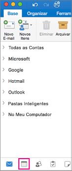 Selecione o botão Calendário na parte inferior da sua lista de pastas no Outlook