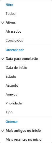 Escolha como quer filtrar e ordenar as tarefas na lista de Tarefas do Outlook.com