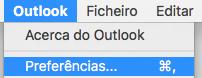 Preferências do Outlook a mostrar a