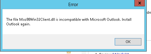 Erro da Falha do Outlook