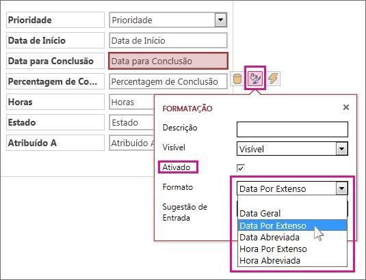 Imagem do menu Formatação numa aplicação do Access.