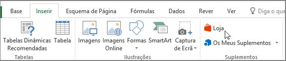 Captura de tela de uma secção do separador inserir na faixa de vistas do Excel com um cursor a apontar para a loja. Selecione loja para ir para a loja Office e procurar suplementos para o Excel.
