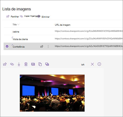 Exemplo de uma peça Web de incorporação ligada a uma lista de imagens