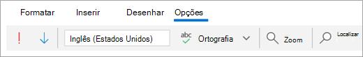 Uma captura de tela do separador Opções