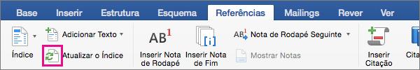 Clique em Atualizar Índice no separador Referências para atualizar o índice de um documento.