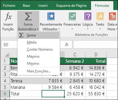 Pode utilizar o Assistente de Soma Automática para criar automaticamente uma fórmula SOMA.  Selecione um intervalo acima/abaixo ou à esquerda/direita do intervalo a ser somado, aceda ao separador Fórmulas no Friso e, em seguida, selecione Soma Automática e SOMA.