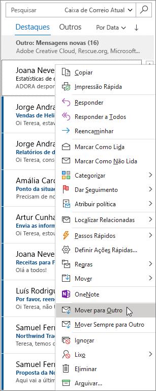 Caixa de Entrada Destaques no Outlook