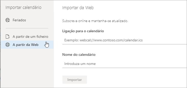 Uma captura de tela da opção importar a partir da Web