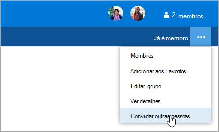 Captura de ecrã de convidar outras pessoas botão no menu de definições de grupo.