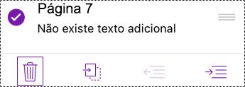 Eliminar uma página no OneNote para iOS