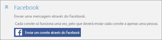 """Captura de ecrã a mostrar um grande plano da secção """"Facebook"""" da caixa de diálogo """"Adicionar alguém"""" com o botão """"Enviar um convite através do Facebook""""."""