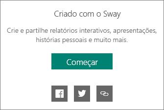 Rodapé informativo Criado com o Sway