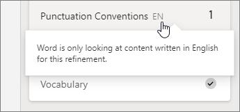 Neste exemplo, as convenções de pontuação apenas estão a ser verificadas em inglês.