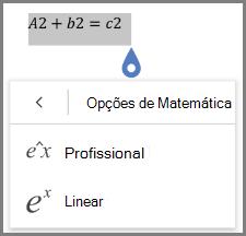 A mostrar os formatos de equação matemática