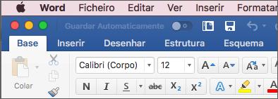 A faixa de vistas no Word para Mac em tema colorido
