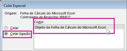 mostra a colagem do ficheiro como caixa de diálogo da ligação