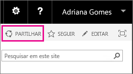 Captura de ecrã a mostrar o controlo Partilhar para partilhar um site