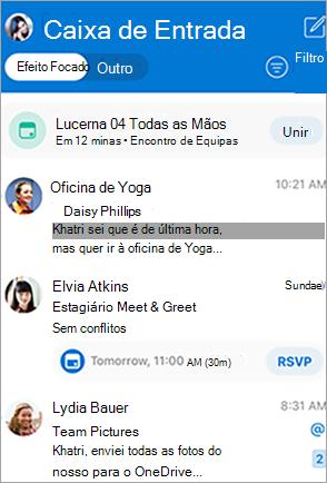Mostra a caixa de entrada do Outlook