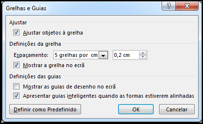 caixa de diálogo grelha e guias do powerpoint