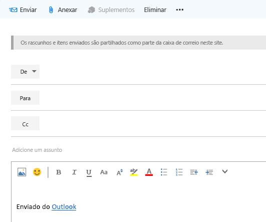 Adicionar endereços a um e-mail na caixa de correio do site