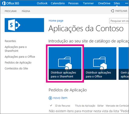 O mosaico Distribuir Aplicações para o SharePoint num site do Catálogo de Aplicações