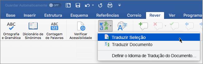 Separador Rever com a opção Traduzir Seleção realçada