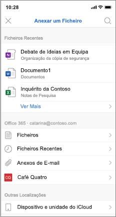 Ecrã de telemóveis com uma lista de ficheiros recentes e do iCloud