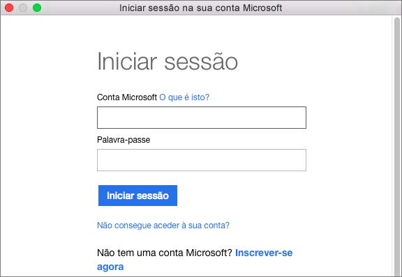 Introduza as credenciais para a sua conta Microsoft para aceder a serviços associados com a sua conta.
