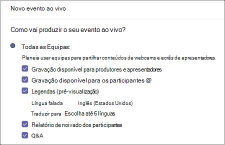 Caixa de diálogo para selecionar a opção QA para evento ao vivo de Equipas ao agendar um evento.