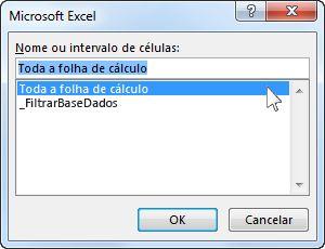 Caixa de diálogo Microsoft Excel no Word